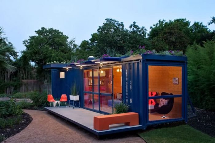 Elegant and artistic container hotel with French window