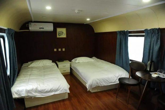 Fine Western-style food Train Hotel and Train Restaurant, full of strong ancients (old train compartment)