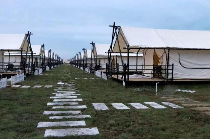 Rectangular Camping Tent in Outdoor Scenic Area