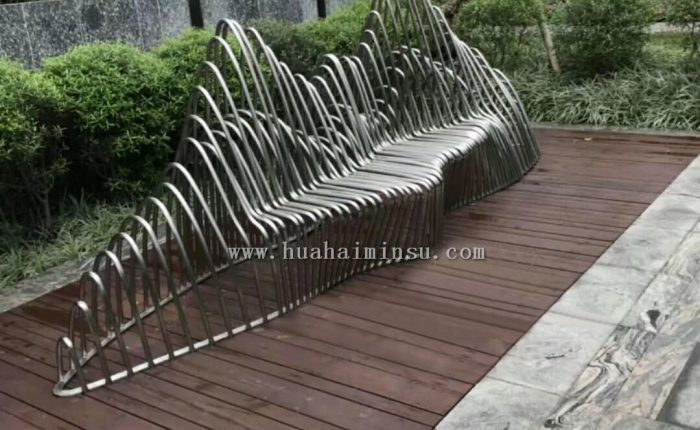 Outdoor stainless steel creative landscape bench, custom-made metal seats manufacturer