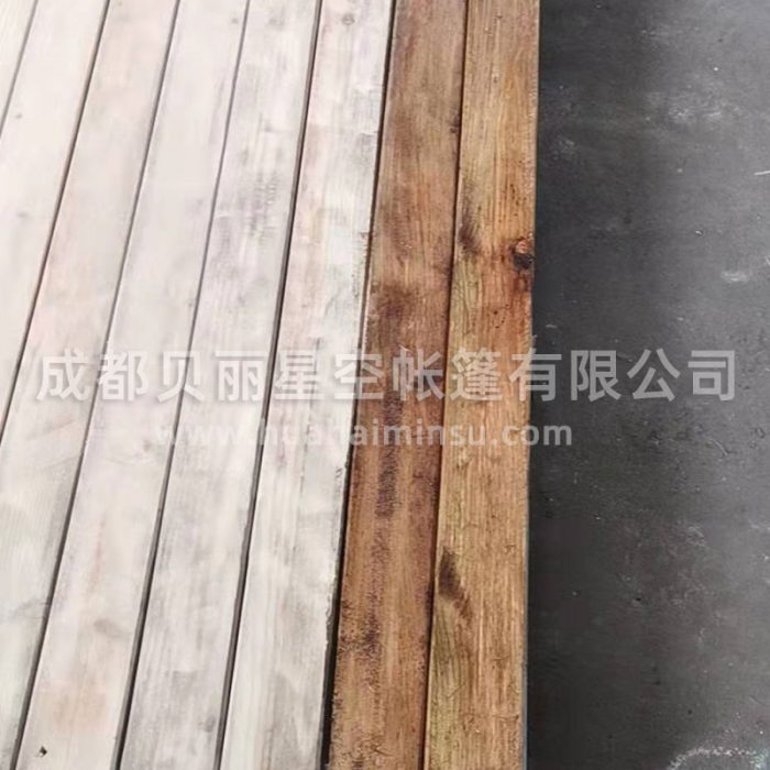 Customized steel structure wood platform for outdoor landscape