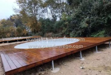 set up Wooden platform for dome tent hotel