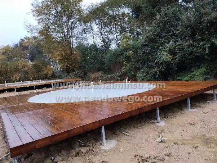 set up Wood platform for dome tent hotel